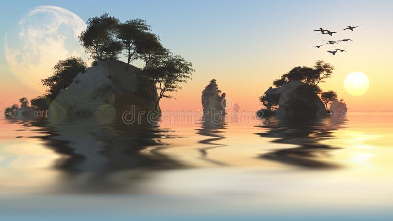 Lever de soleil ou ensemble avec la lune et les îlots rocheux illustration de vecteur