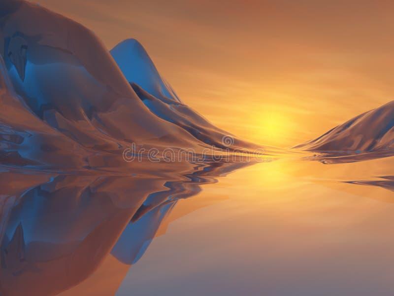 Lever de soleil peint de vallée illustration stock