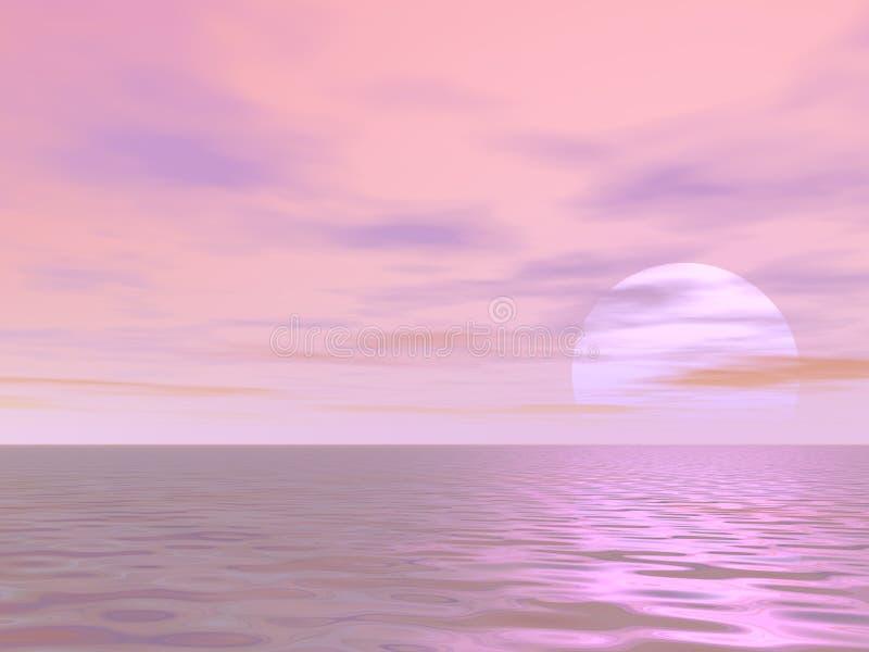 Lever de soleil rose illustration stock
