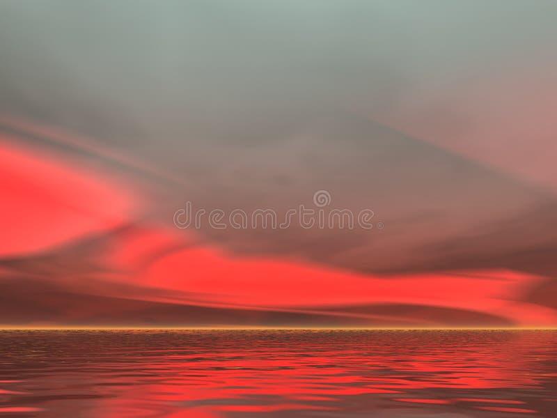 Lever de soleil sérieusement rouge illustration libre de droits