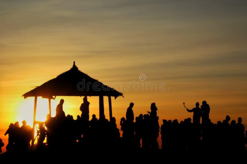 Lever de soleil Sikunir Dieng image stock