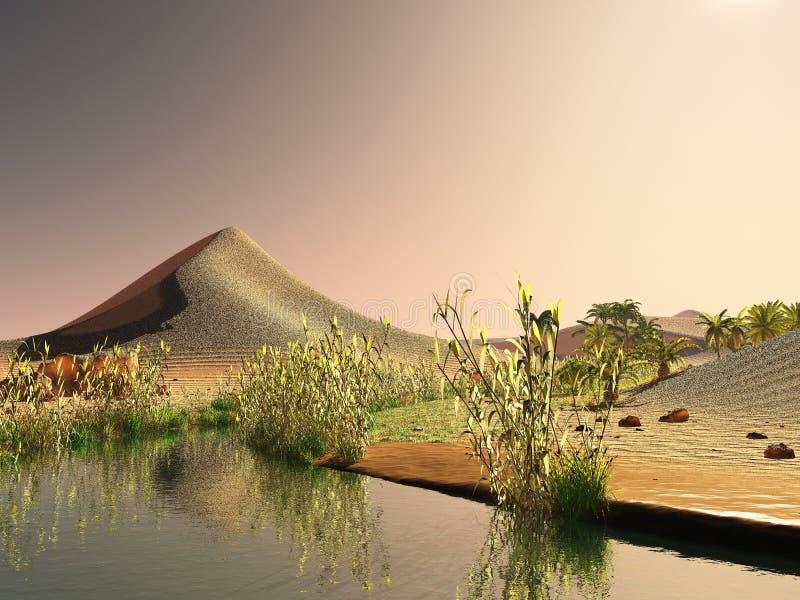 Lever de soleil stupéfiant sur le rendu du désert du Sahara 3d illustration stock