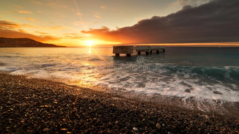 Lever de soleil sur nice sunrise nice city royalty free stock photos