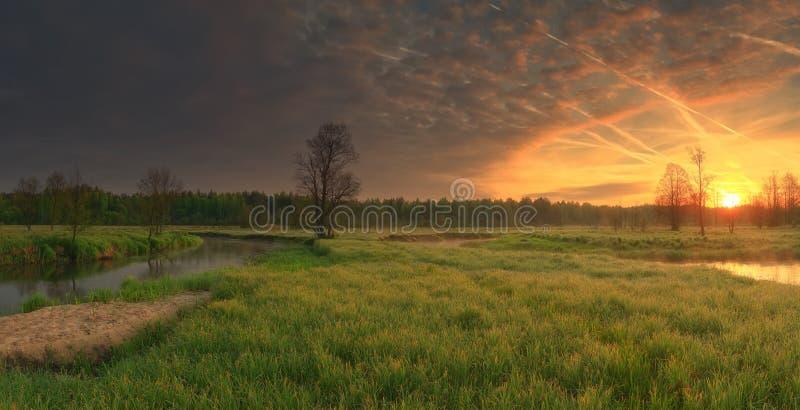 Lever de soleil vif au-dessus de pré photographie stock libre de droits