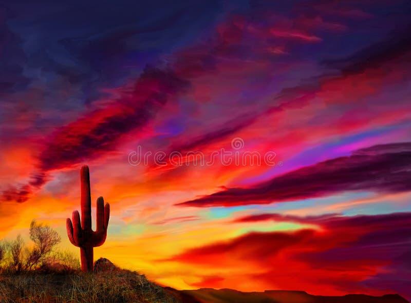 Lever du soleil dans le désert de l'Arizona un Saguaro cautus en silhouette photo stock