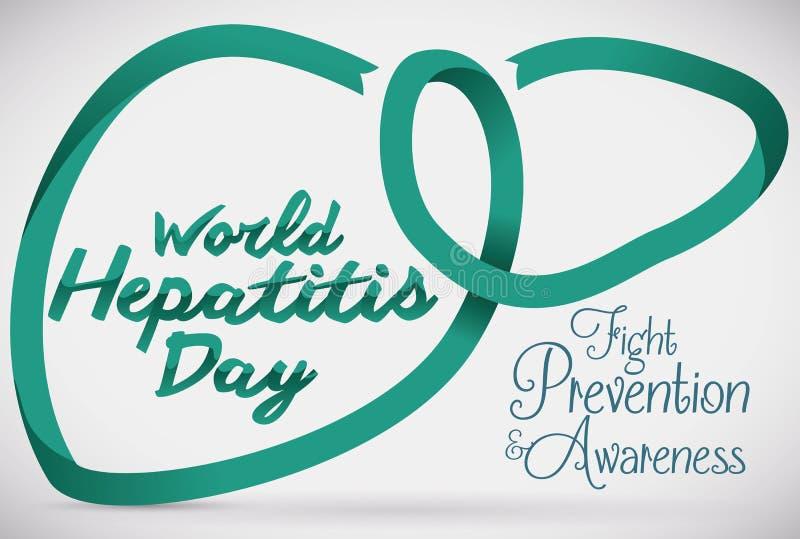 Lever Shape med en Jade Ribbon Commemorating Hepatitis Day, vektorillustration royaltyfri illustrationer