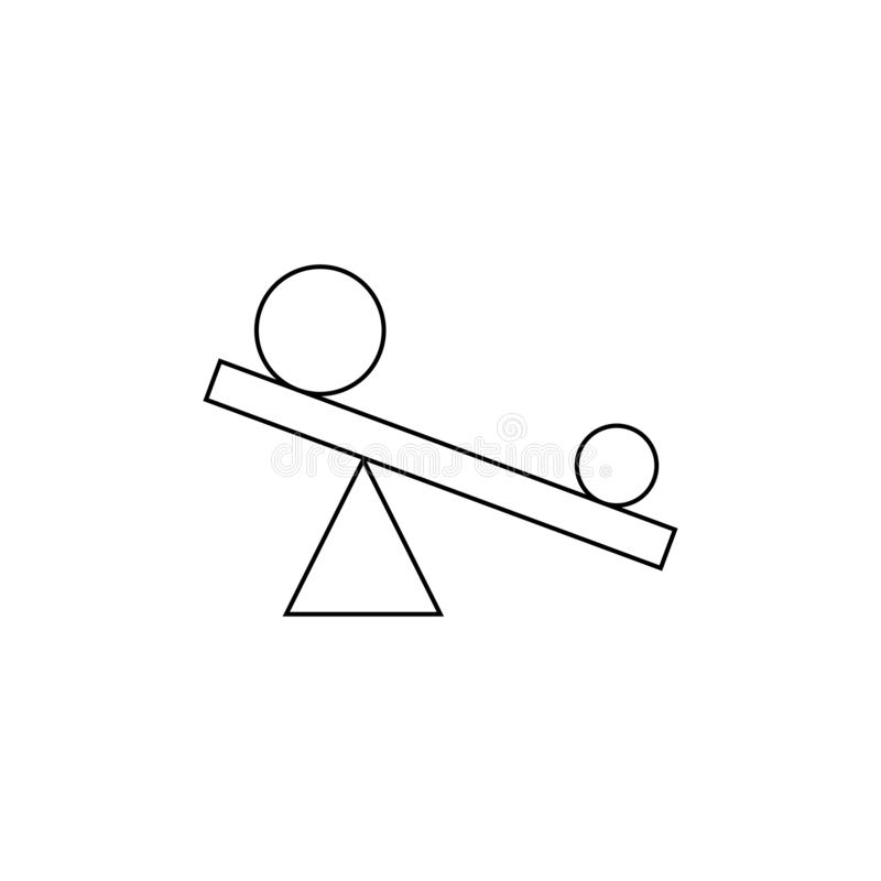 Leverage sign. Small circle swings a large circle on the rocker. Triangle sign. Eps ten royalty free illustration