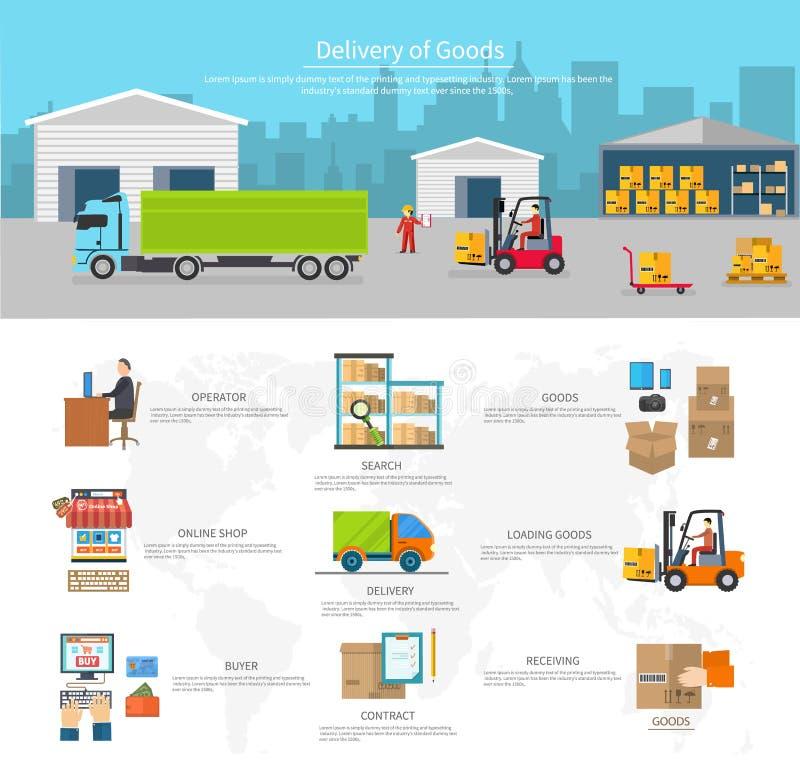 Leverans av gods logistik och trans. stock illustrationer