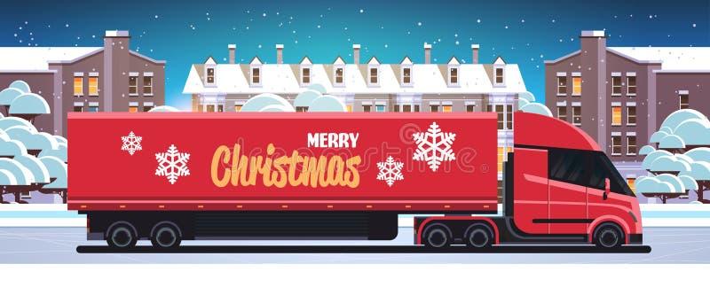 Leverans av halvlastbilstrafik Gateljetransport i staden för nöjda jultomter nästa år royaltyfri illustrationer