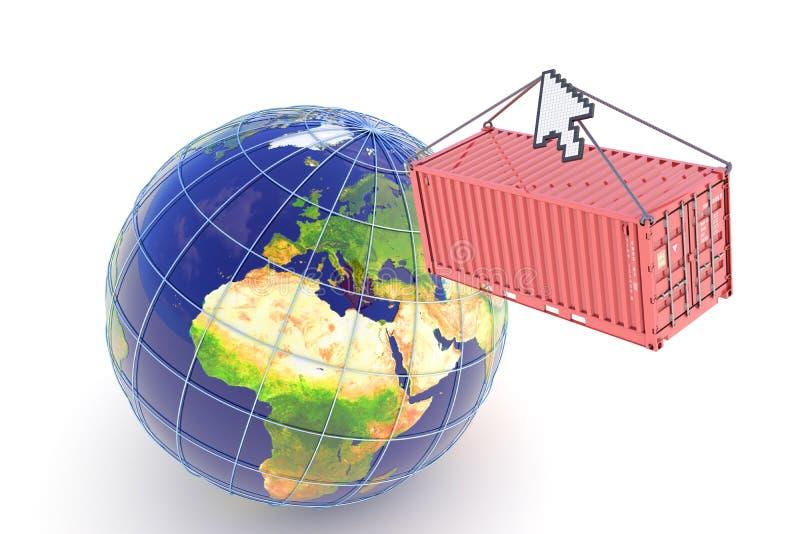 leverans e för lastkommersbegrepp stock illustrationer