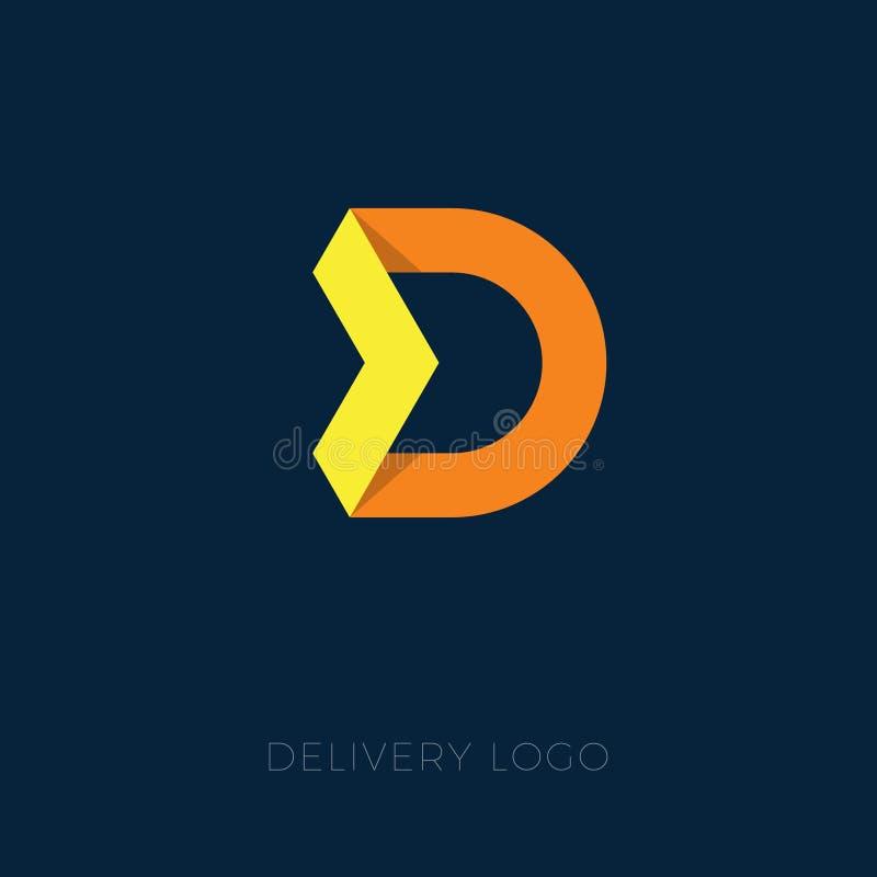 Leverans- eller logistiklogo Bokstav för origami D D-emblem Guling och orange bokstav med pilen stock illustrationer