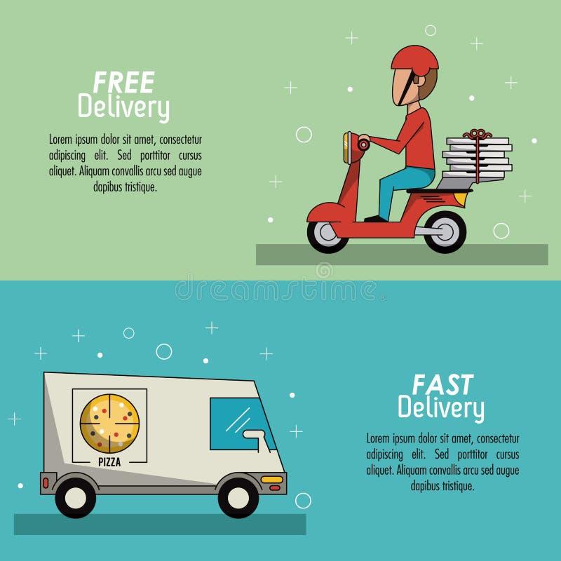 Leverans för plats för färgaffischbaner snabb i pizzatruckposter och leveransman i röd sparkcykel royaltyfri illustrationer