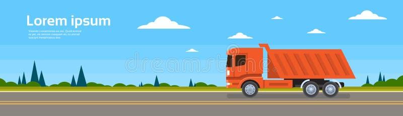 Leverans för sändnings för Lorry Tipper Truck Dump Car On väglast stock illustrationer
