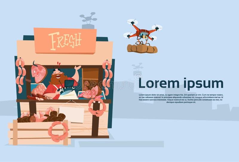 Leverans för surr för marknad för bondeSell Pork Meat produkter organisk royaltyfri illustrationer