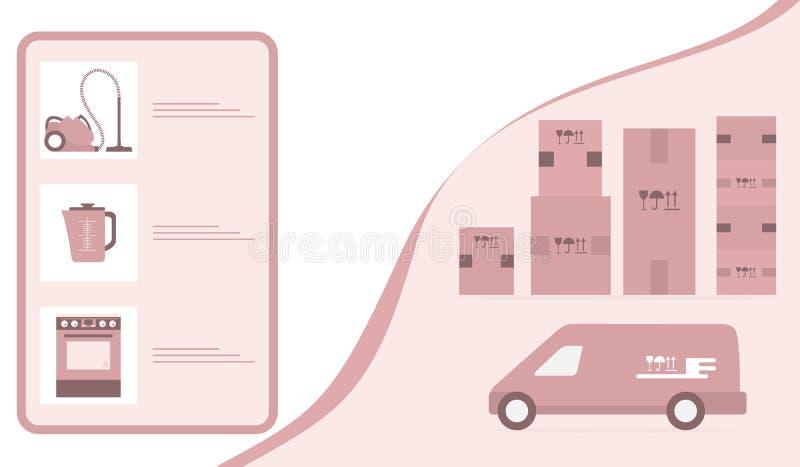 Leverans f?r best?llningsgodsonline-lager f?r online-lager stock illustrationer