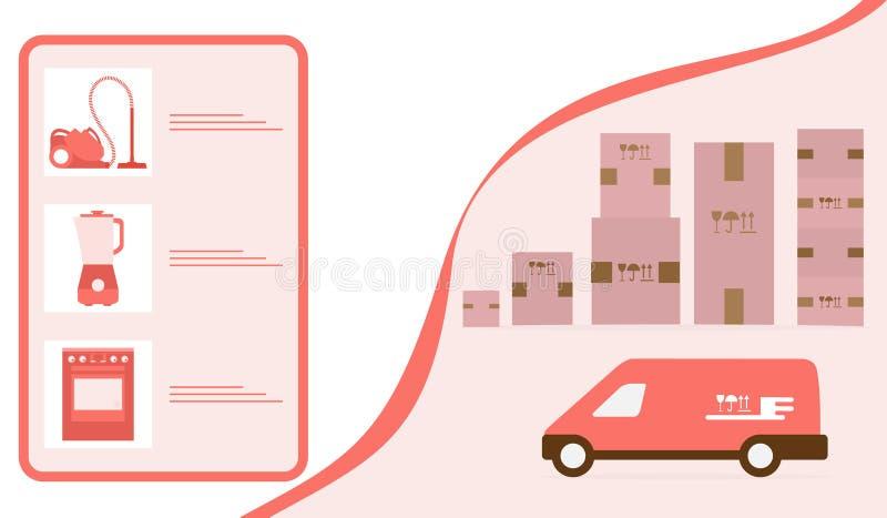 Leverans f?r best?llningsgodsonline-lager f?r online-lager royaltyfri illustrationer