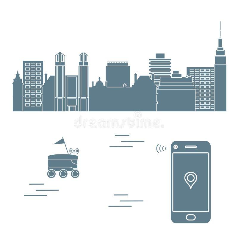 Leverans i staden med en robot leveransen frigör stock illustrationer