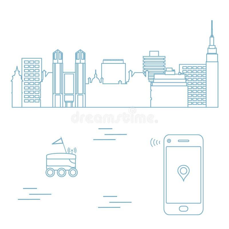 Leverans i staden med en robot leveransen frigör royaltyfri illustrationer