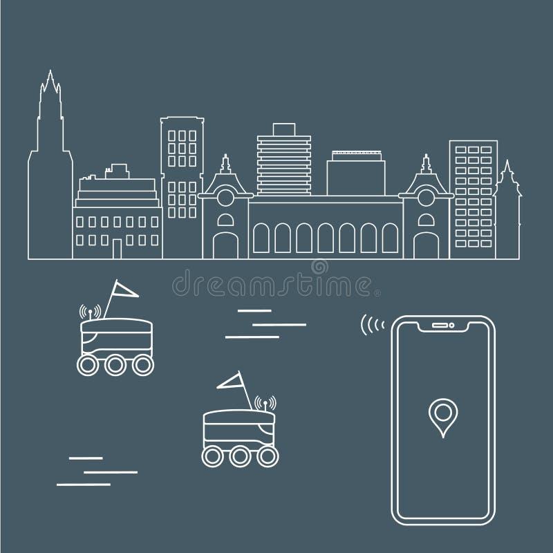 Leverans i staden med robotar leveransen frigör vektor illustrationer