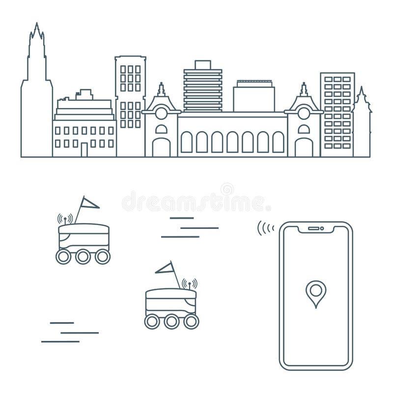 Leverans i staden med robotar leveransen frigör royaltyfri illustrationer