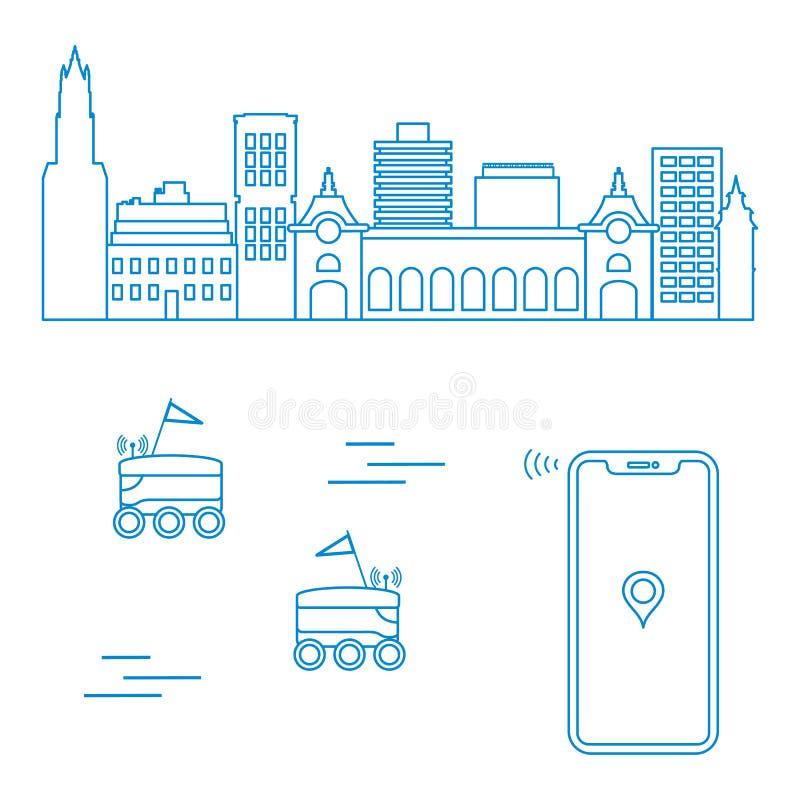 Leverans i staden med robotar leveransen frigör stock illustrationer