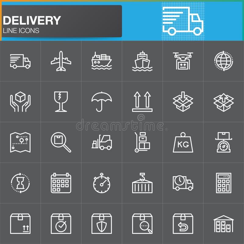 Leverans- och logistiklinjen symboler ställde in, skisserar vektorsymbolsamlingen stock illustrationer