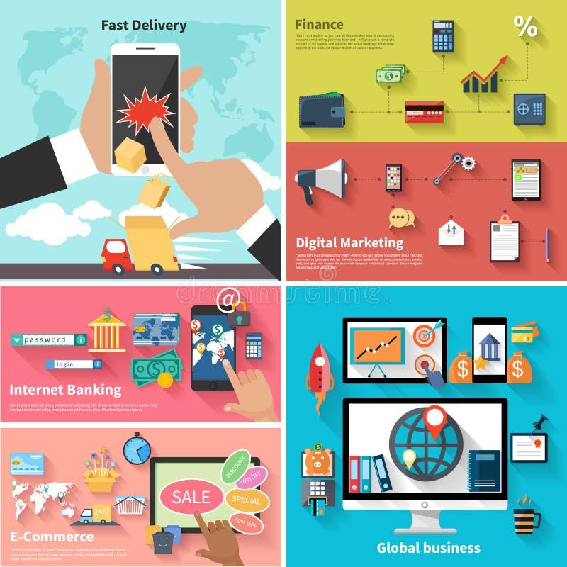 Leverans, pengar, bank och digital marknadsföring stock illustrationer