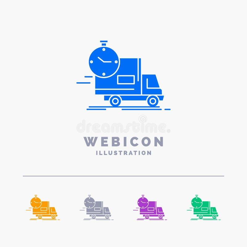 leverans tid, sändnings, transport, för färgskåra för lastbil som 5 mall för symbol för rengöringsduk isoleras på vit ocks? vekto royaltyfri illustrationer