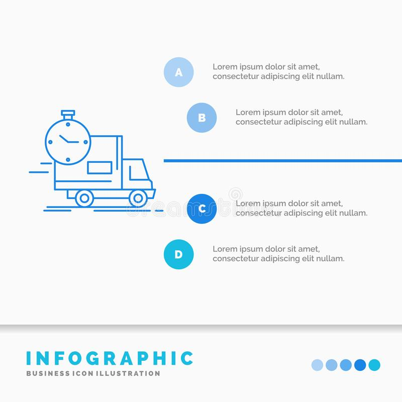leverans, tid, s?ndnings, transport, lastbilInfographics mall f?r Website och presentation Linje infographic stil f?r bl? symbol stock illustrationer