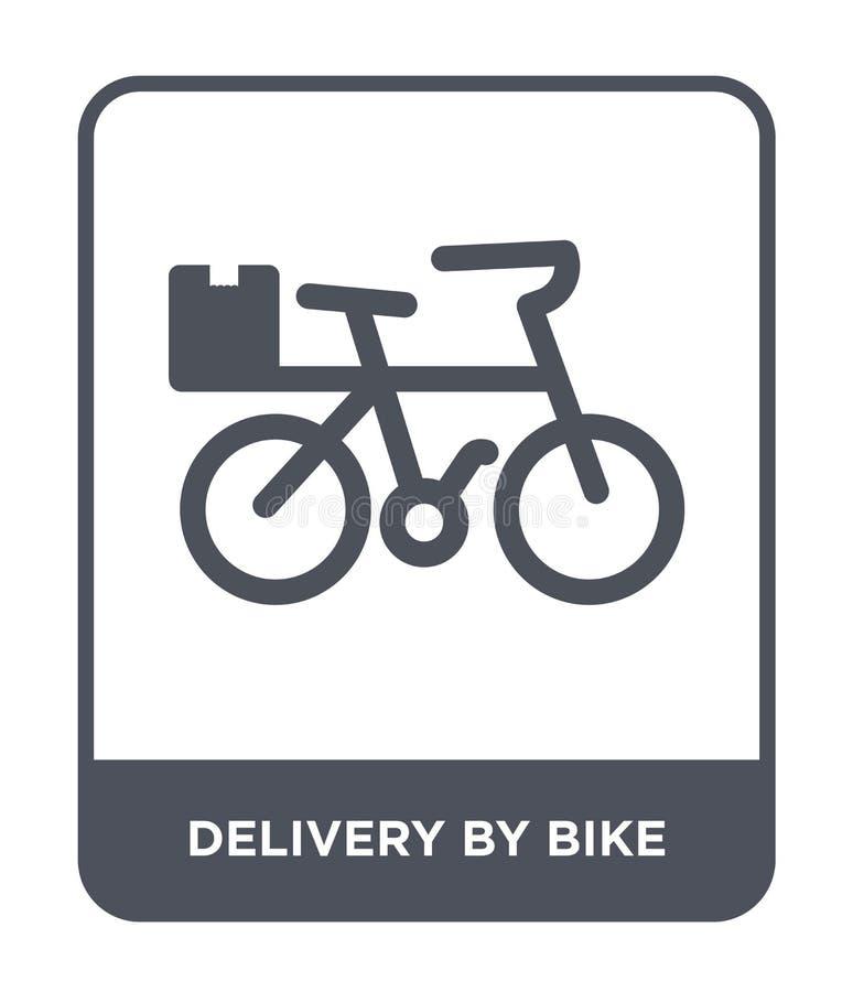 leverans vid cykelsymbolen i moderiktig designstil leverans vid cykelsymbolen som isoleras på vit bakgrund leverans vid cykelvekt stock illustrationer