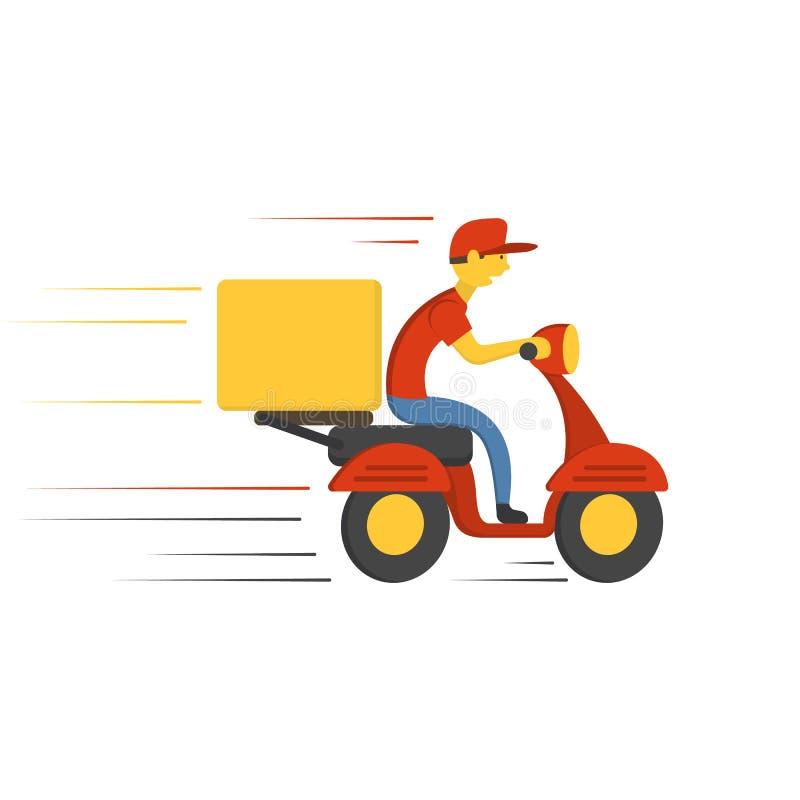 Leveransbegreppsdesign Motorcykel för pojkerittsparkcykel med asken vektor vektor illustrationer