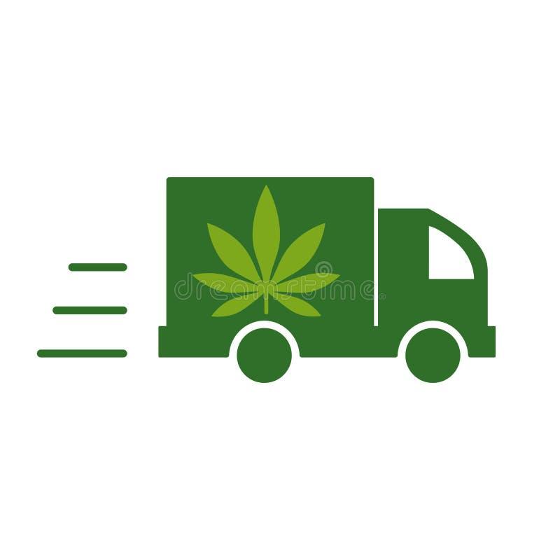 Leveranscannabis Illustration av en symbol för leveranslastbil med ett marijuanablad vektor illustrationer