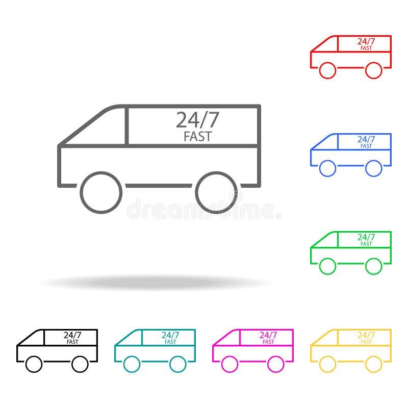 Leveransen åker lastbil kulöra symboler Beståndsdel av att sy den mång- kulöra symbolen för mobila begrepps- och rengöringsdukapp stock illustrationer