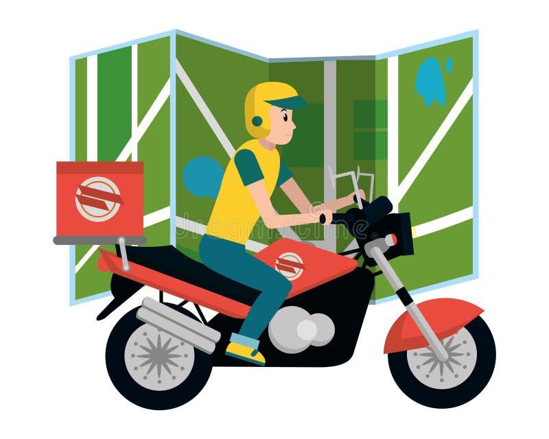 Leveransgrabb i motorcykel stock illustrationer