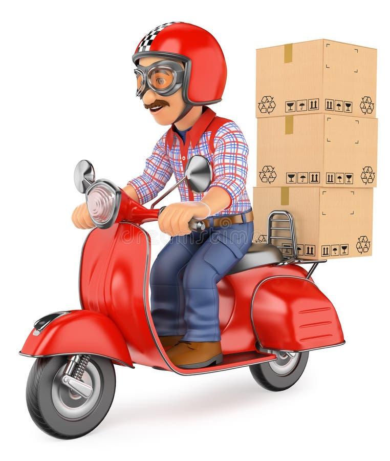 leveransman för kurir som 3D levererar en packe vid sparkcykelmotorcyc royaltyfri illustrationer