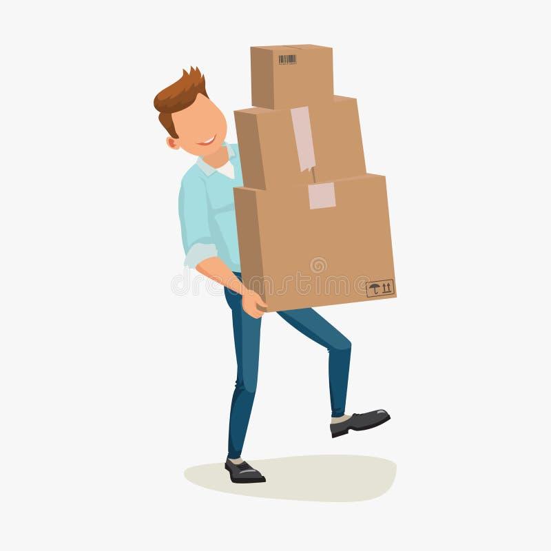 Leveransman, hemsändning isolerad white för ask leverans Leveranspojke Man som levererar packen Bild för lägenhet för tecknad fil stock illustrationer