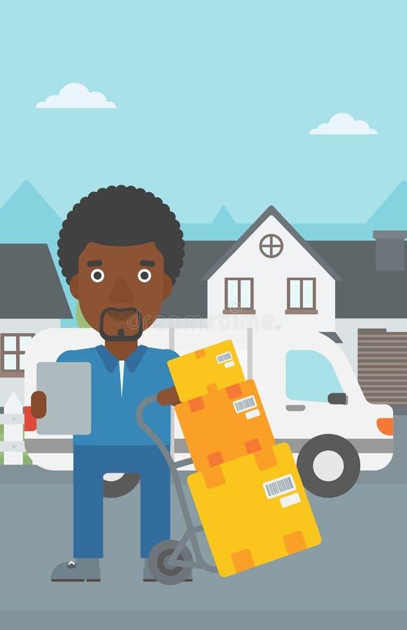Leveransman med kartonger stock illustrationer