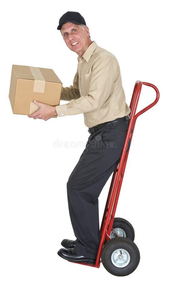 Leveransman som flyttar sig, frakt, sändnings, packe royaltyfri bild