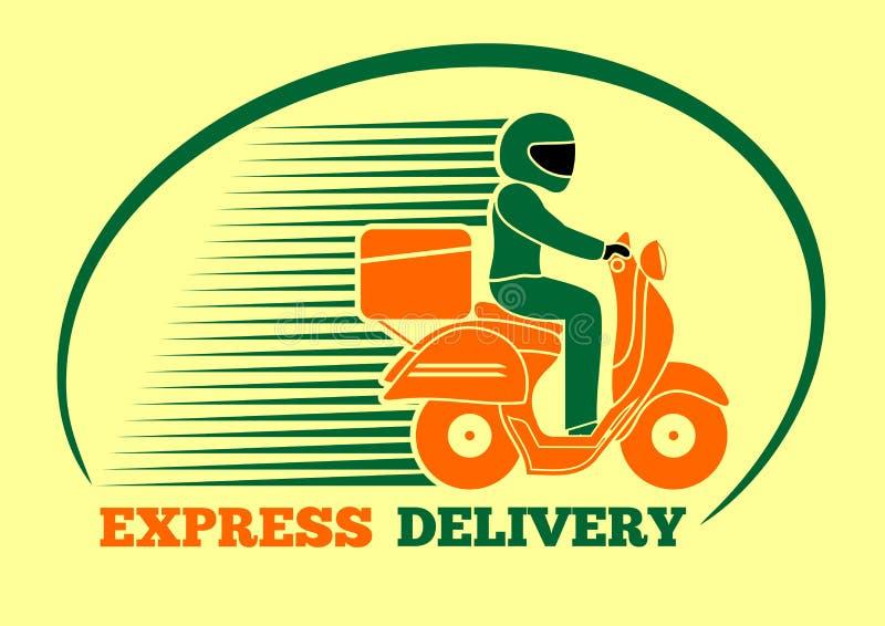 Leveransman som rider en sparkcykel Uttrycklig leverans, logodesign också vektor för coreldrawillustration royaltyfri illustrationer