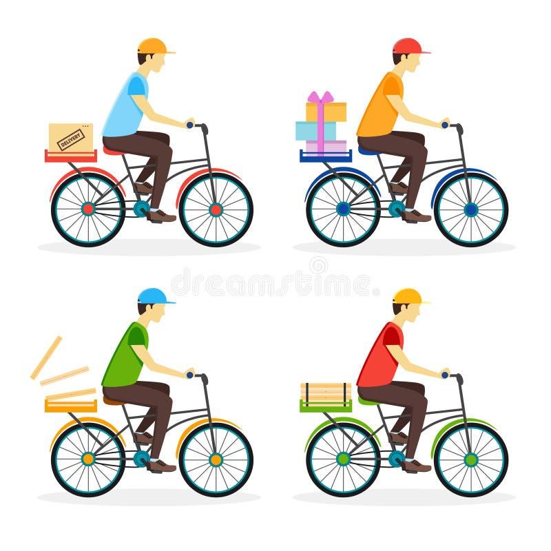 Leveranspojke på cykeluppsättningen vektor stock illustrationer