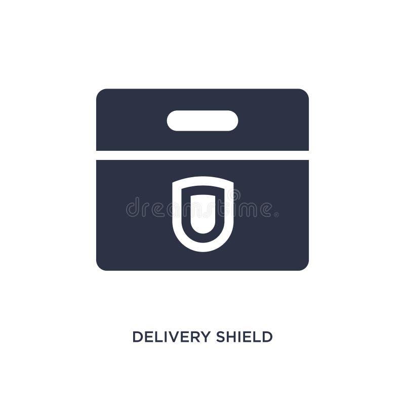 leveranssköldsymbol på vit bakgrund Enkel beståndsdelillustration från leverans- och logistikbegrepp royaltyfri illustrationer