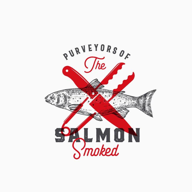 Leverantörer av den rökte laxen Abstrakt vektortecken, symbol eller Logo Template Hand drog Salmon Fish med flott Retro vektor illustrationer