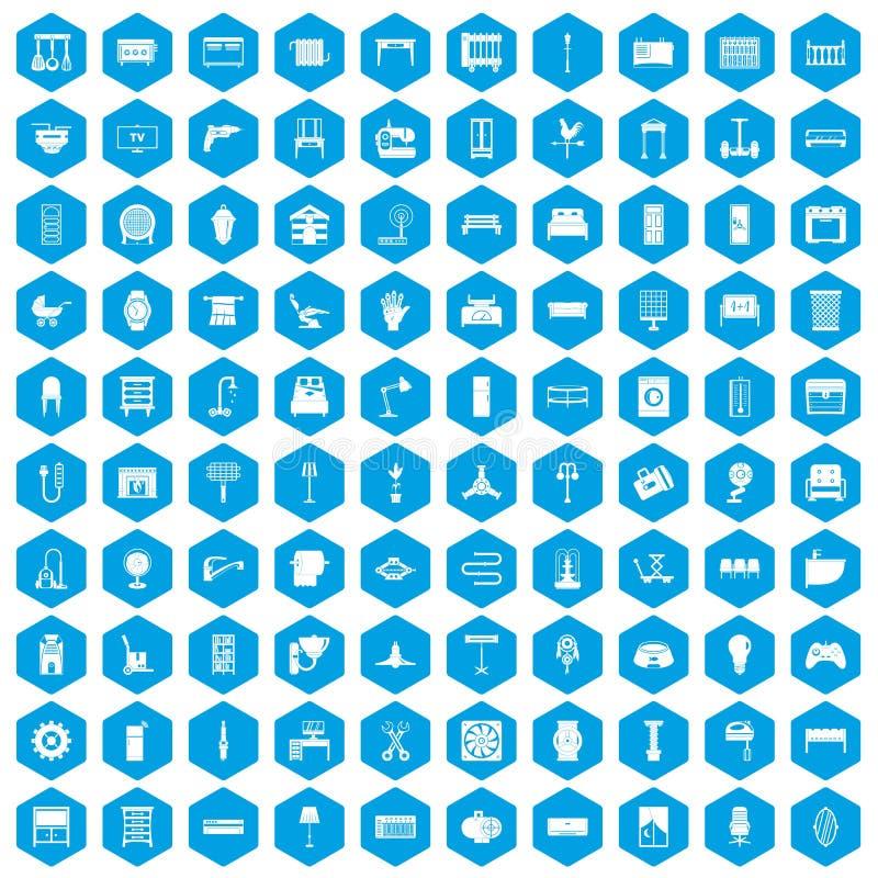 100 leverend pictogrammen geplaatst blauw vector illustratie