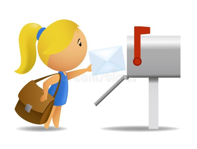 leverera flickabokstavsbrevbäraren royaltyfri illustrationer