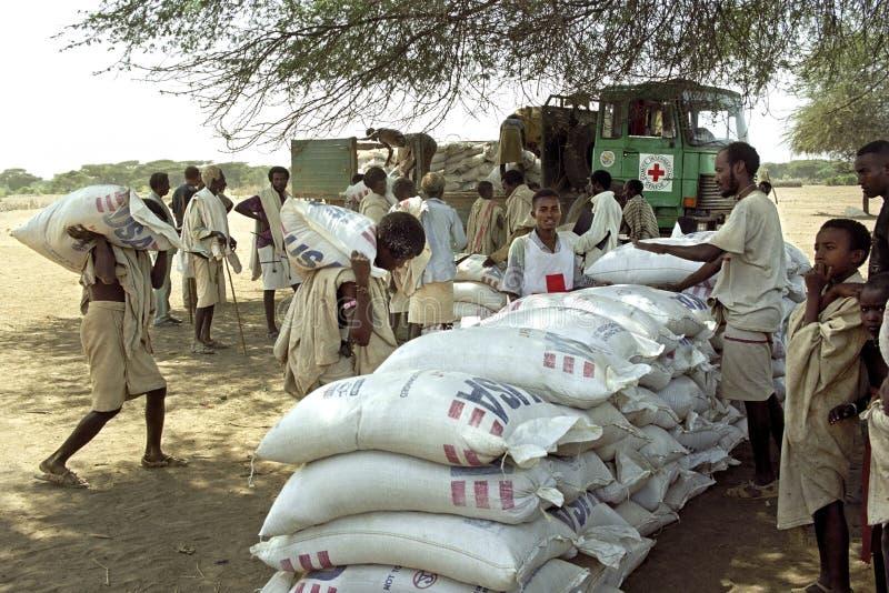 Leverera livsmedelsstöd för avlägset folk, Röda korset, Etiopien royaltyfri bild
