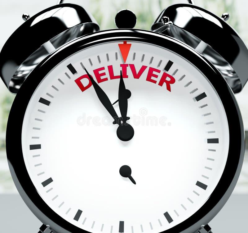 Leverera snart, nästan där, på kort tid - en klocka symboliserar en påminnelse om att leveransen är nära, kommer att ske och avsl stock illustrationer