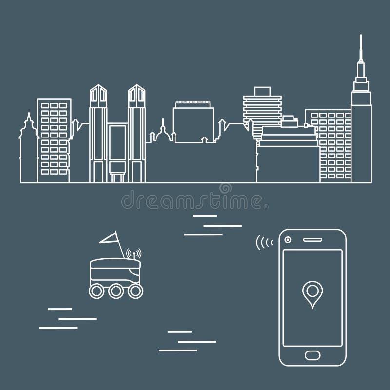 Levering in de stad met een robot Vrije levering vector illustratie