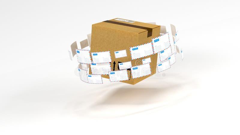 Levering van correspondentie wereldwijd Post en pakketlevering vector illustratie