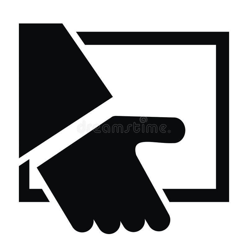 Levering van de verzending, de hand en de brief, zwart pictogram vector illustratie