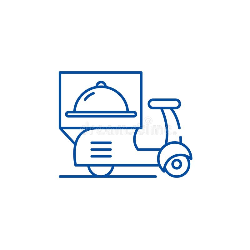 Levering van het pictogramconcept van de restaurantslijn Levering van restaurants vlak vectorsymbool, teken, overzichtsillustrati stock illustratie